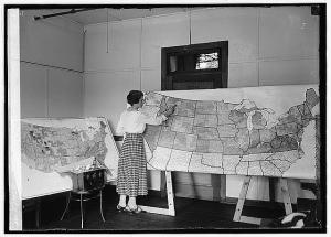 woman painting map