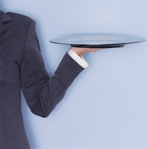Woman Carrying Serving Tray