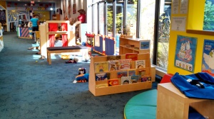 A mid-day photo of our early literacy area--not perfect, but reasonably contained.