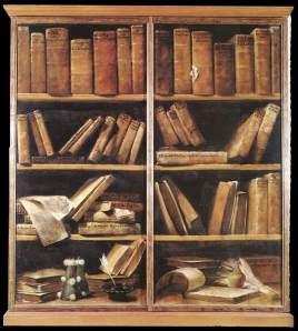 Oil painting of disordered bookshelves