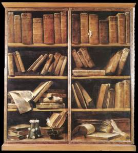 Oil painting of disordered bookshelves