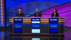 Three contests at podiums competing on Jeopardy