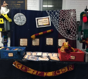 photo of Harry Potter themed yarn bombing display table