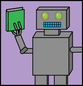cartoon robot librarian holding a book