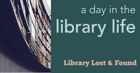 "graphic of library shelves with text ""a day in the library life."""