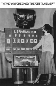 "vintage photo of a robot ""Librarian 2.0"" dispensing books"