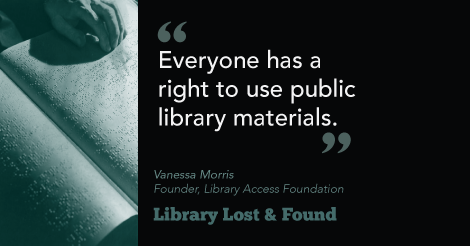 """Everyone has a right to use public library materials."" Image of hand on book set in Braille."