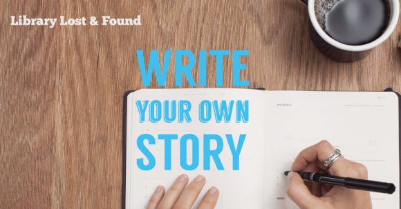 Hands writing in journal with caption Write Your Own Story